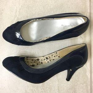 Qupid Orsen Navy Blue Retro Kitten Heels